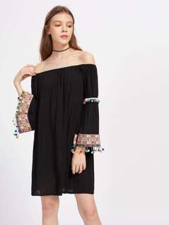 Embroidered Tape And Pom Pom Detail Bell Sleeve Bardot Dress