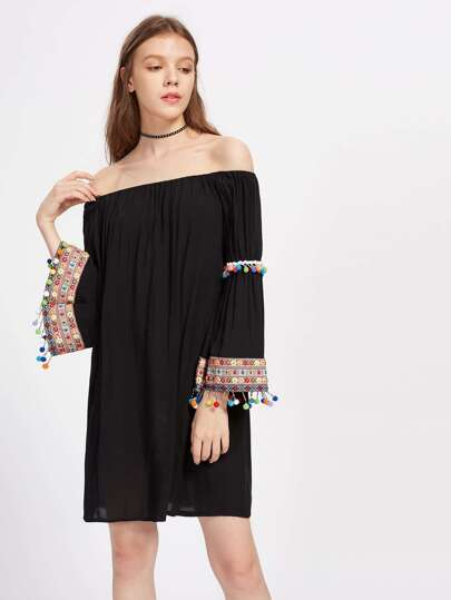 Embroidered Tape And Pom Pom Detail Bell Sleeve Bardot Dress pictures