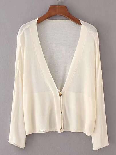 Hidden Button Cardigan In Fine Knit