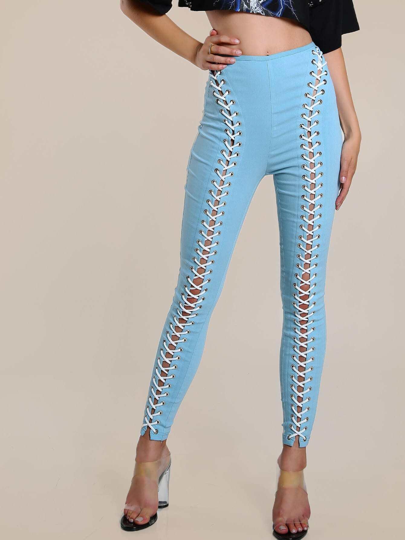 Image of Lace Up Grommet Pants