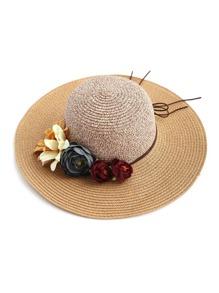 زهرة مزخرفة قبعة سترو المرنة