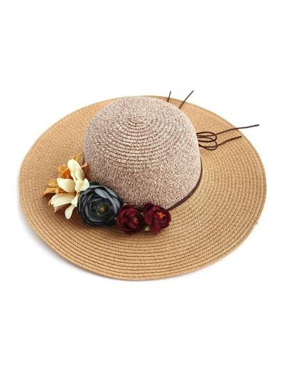 Flower Embellished Floppy Straw Hat