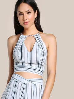 Striped Cut Out Zip Up Crop Top BLUE COMBO