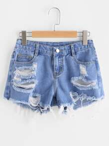 Shorts lacéré à étages en denim