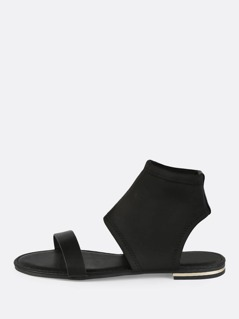 Open Toe Stretch Sandals BLACK