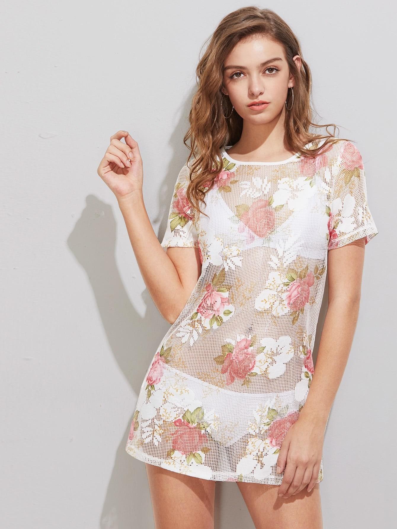 Фото Floral Print Eyelash Mesh Dress. Купить с доставкой