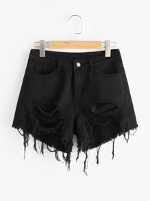 Raw Edge Distressed Denim Shorts