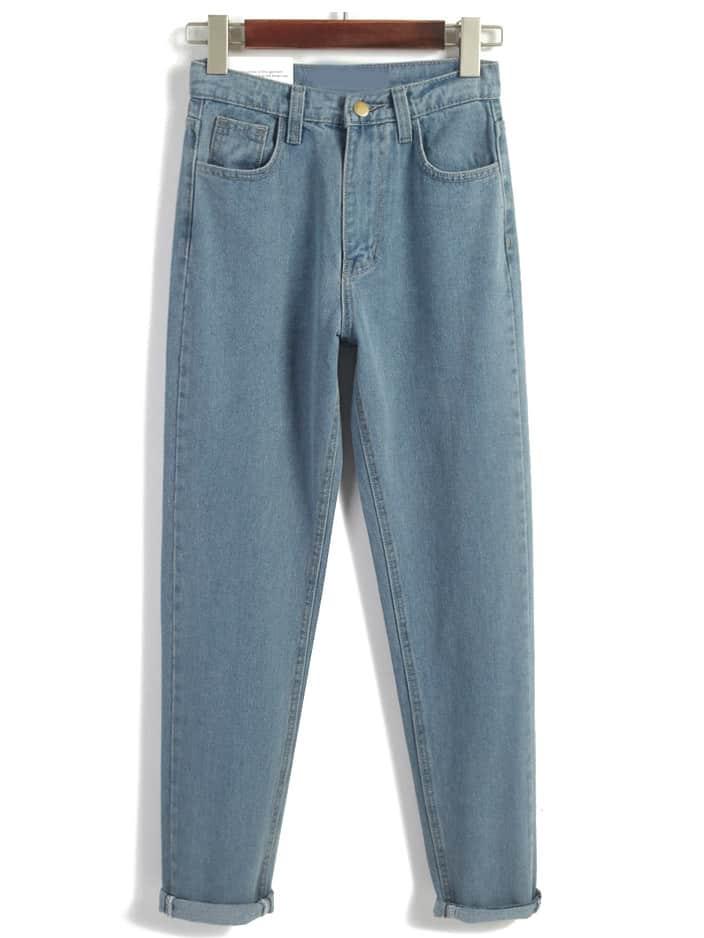 pantalon taille haute en denim bleu french romwe. Black Bedroom Furniture Sets. Home Design Ideas