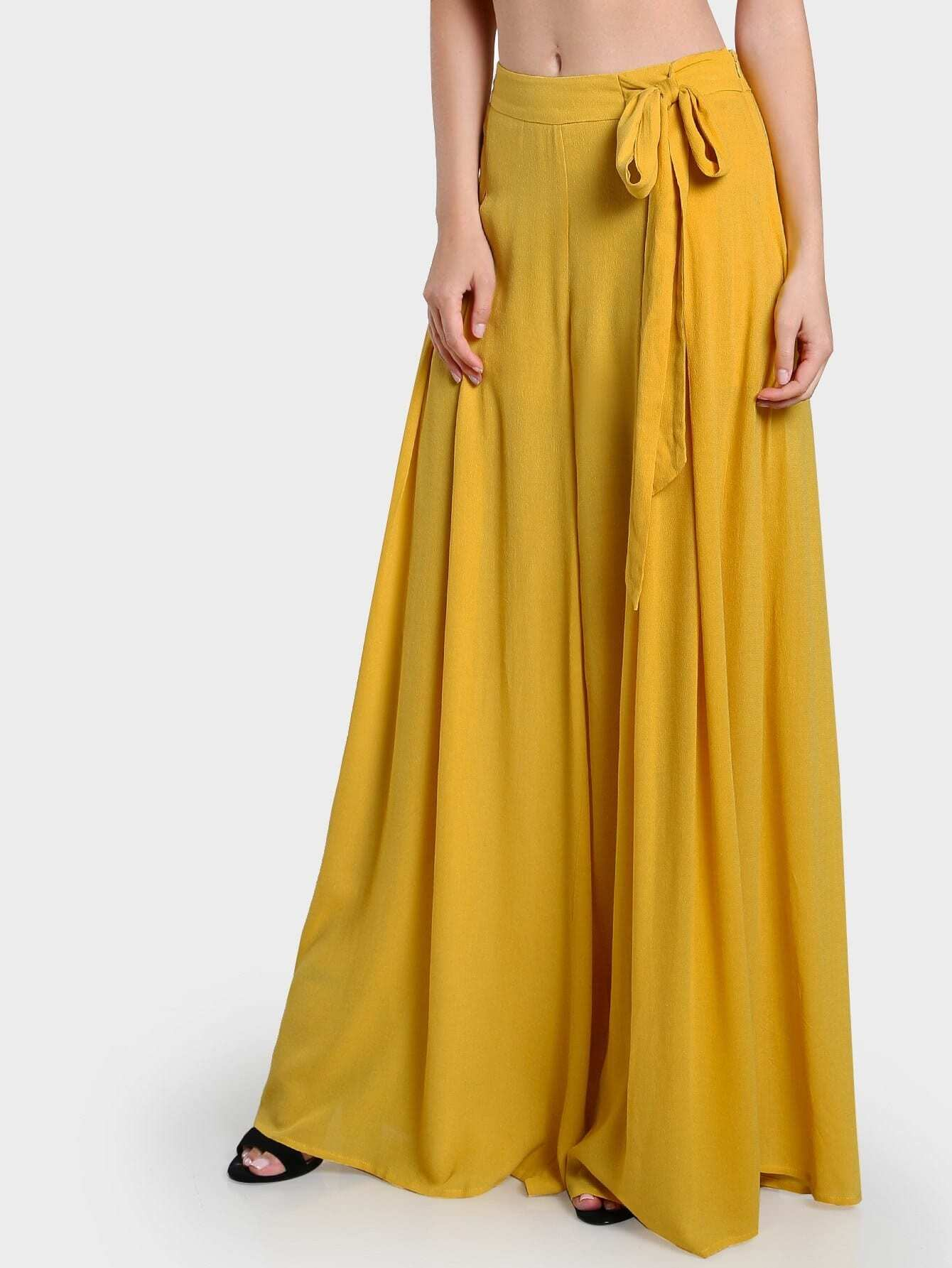 Side Tie Pleated Culotte Pants stylish women s solid color pleated culotte