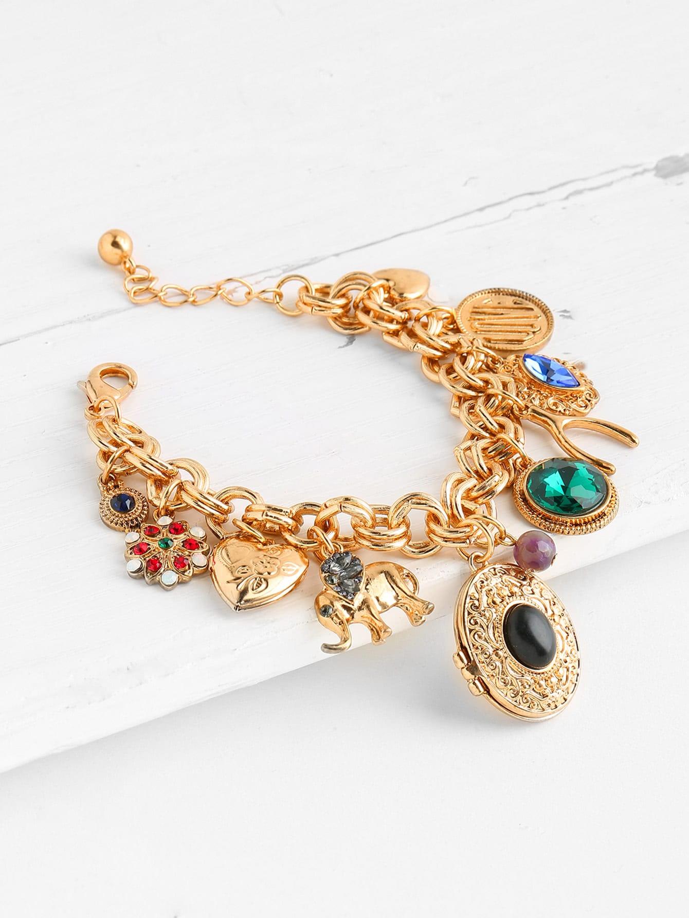 Фото Gemstone & Heart Embellished Chain Bracelet. Купить с доставкой