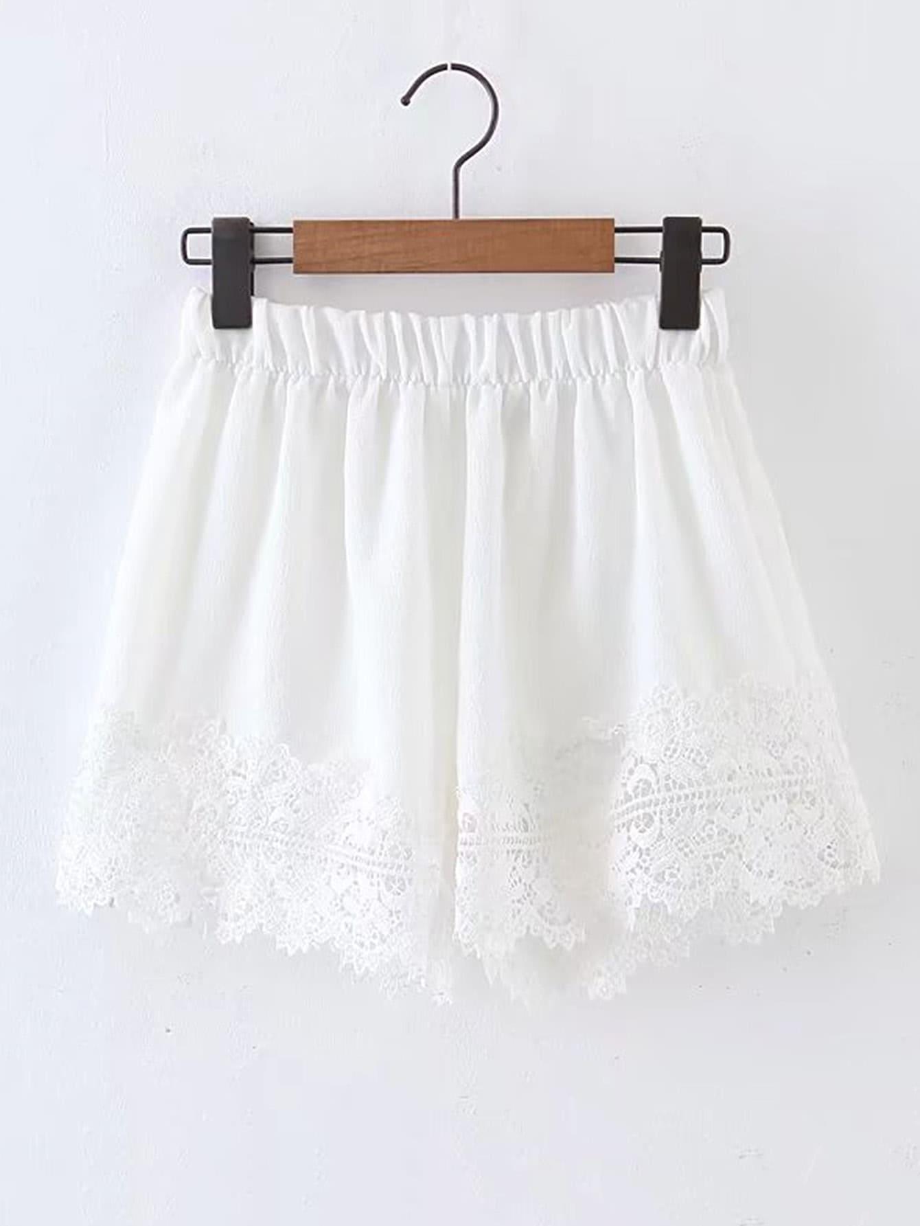 Фото Contrast Lace Elastic Waist Shorts. Купить с доставкой