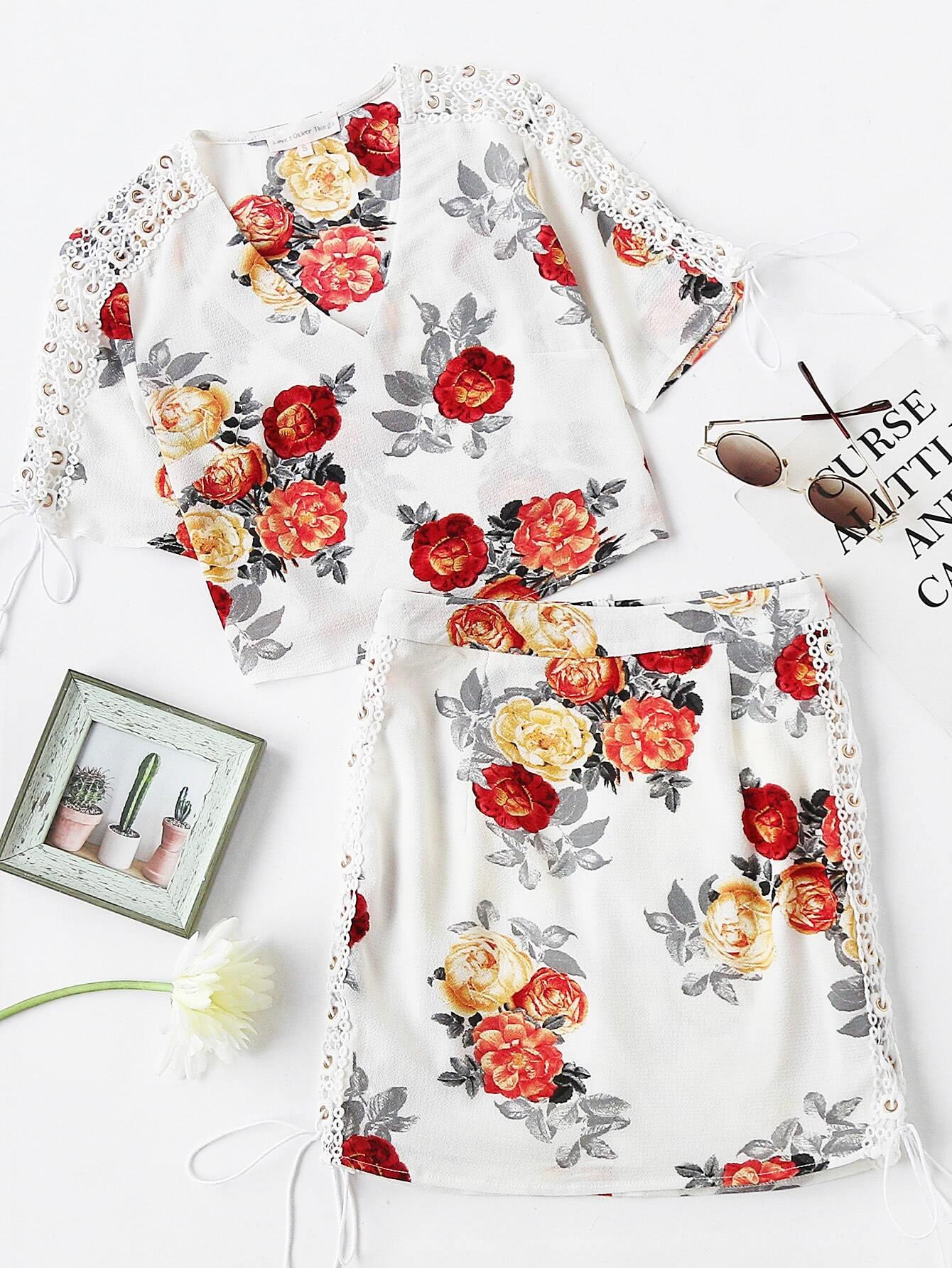 Фото Eyelet Lace Up Crochet Panel Top And Shorts Set. Купить с доставкой
