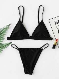 Adjustable Strap Triangle Top With Tanga Bikini