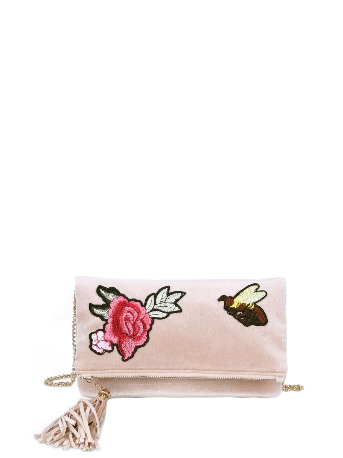 Фото Flower And Bee Embroidery Velvet Crossbody Bag With Tassel. Купить с доставкой