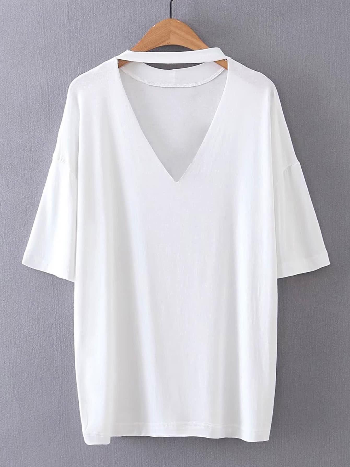 Choker V Neck Drop Shoulder T-Shirt two tone drop shoulder sweatshirt