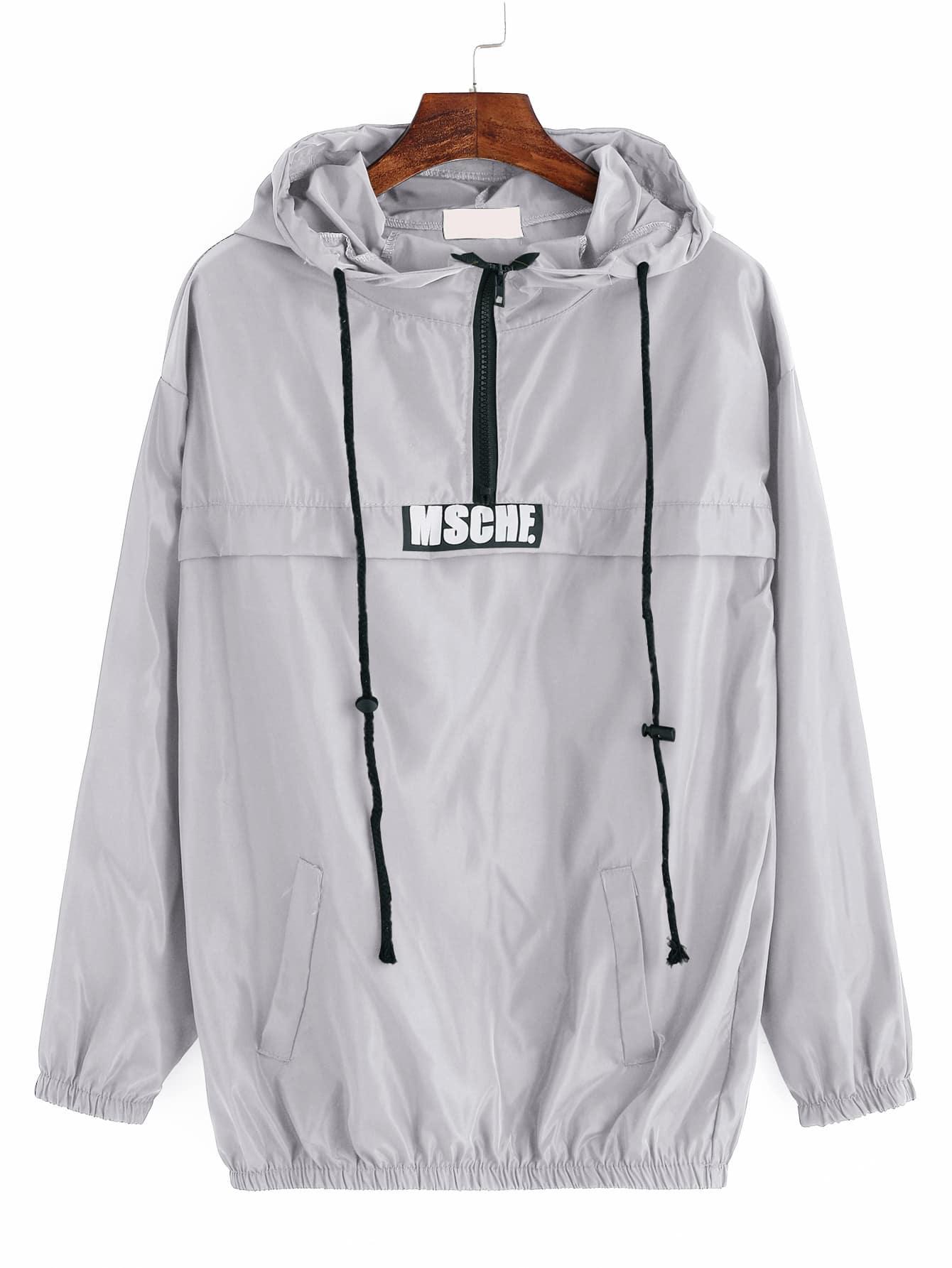 Фото Grey Print Drawstring Hooded Sweatshirt With Zipper Detail. Купить с доставкой