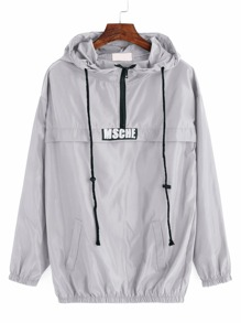 Grey Print Drawstring Hooded Sweatshirt With Zipper Detail