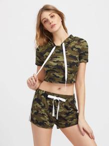 Hooded Crop Camo Tee And Shorts Activewear Set