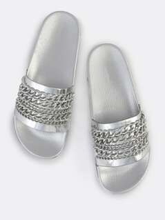 Metallic Chain Slides SILVER