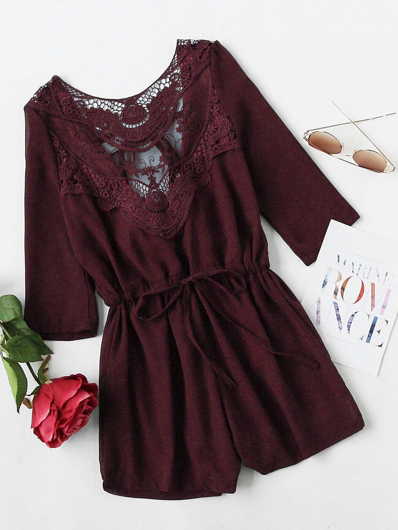 Фото Heather Burgundy Crochet Lace Insert Back Tie Romper. Купить с доставкой