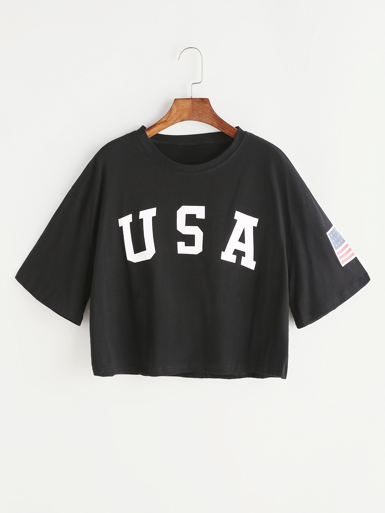 Black Letter Print Drop Shoulder Crop T-shirt letter print t shirt