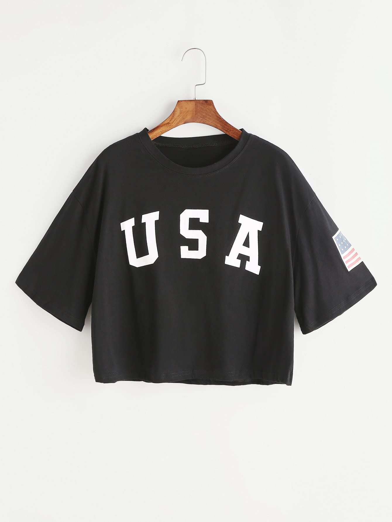 Black Letter Print Drop Shoulder Crop T-shirt drop shoulder letter print marled crop sweatshirt