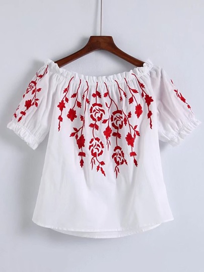 Flower Embroidered Bardot Top