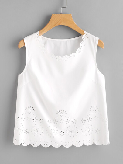 Scalloped Laser Cut Shell Top