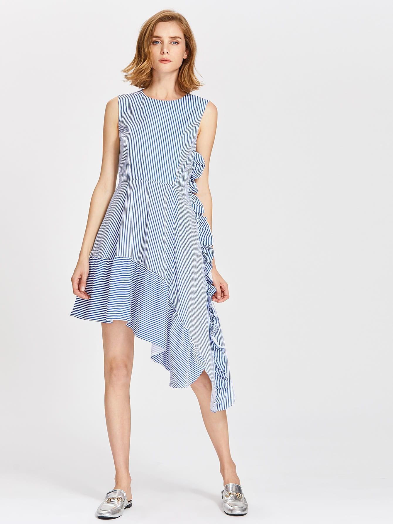 Фото Frill Trim Fit & Flare Asymmetric Dress. Купить с доставкой