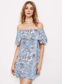 Allover Jungle Print Flounce Layered Striped Dress