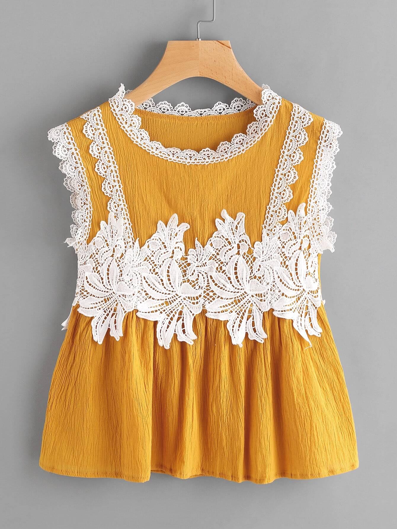 Contrast Crochet Appliques Trim Smock Blouse contrast trim embroidered appliques strappy bra