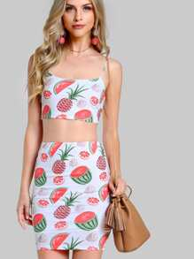 Allover Fruit Print Crop Cami And High Waist Skirt Set