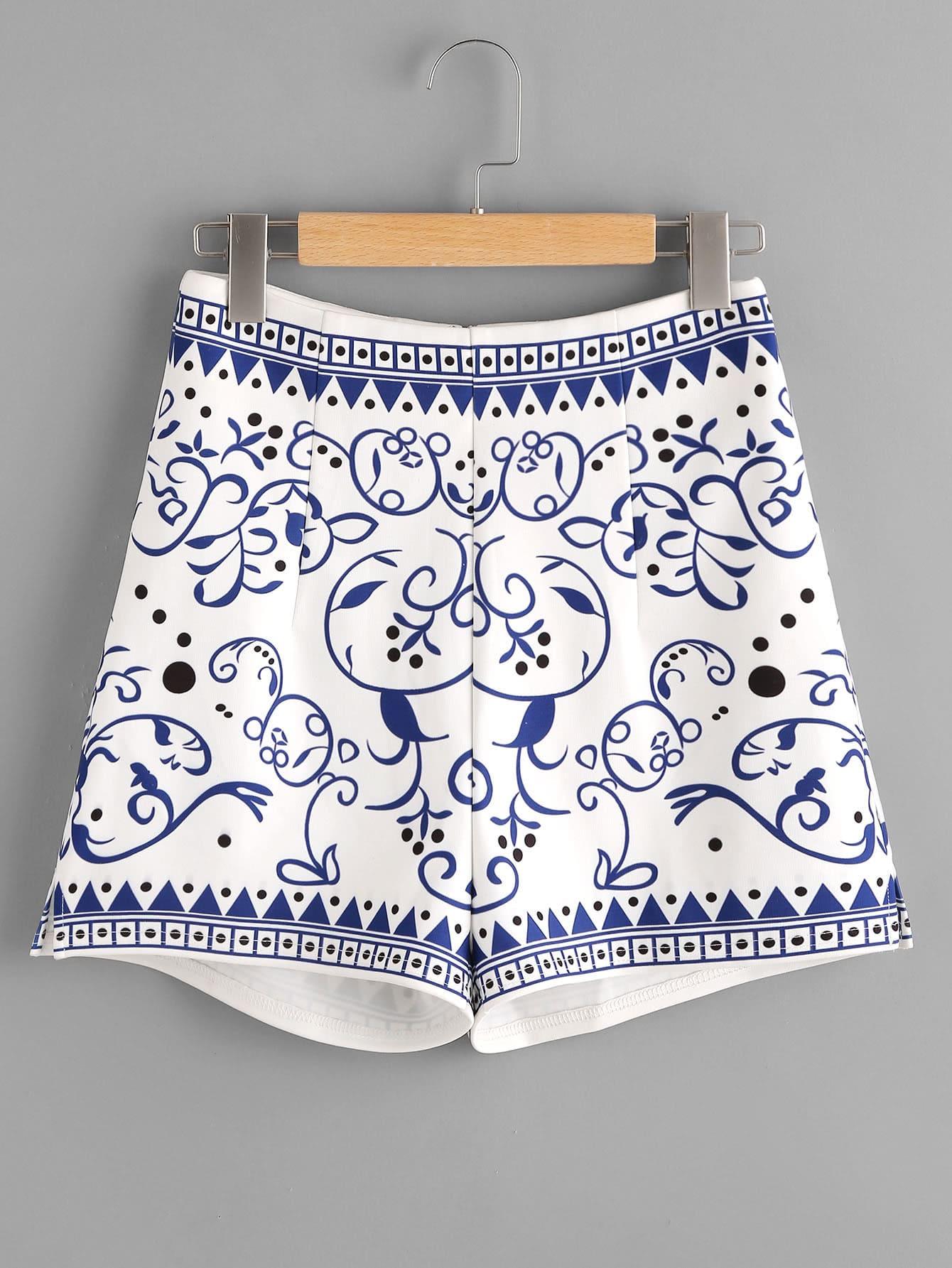 Фото Porcelain Print Zip Back Shorts. Купить с доставкой