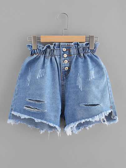 Ripped Frayed Hem Single Breasted Shirred Denim Shorts