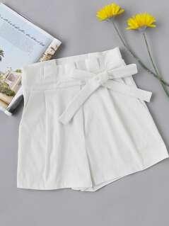 Bow Side Zipper Back Shorts