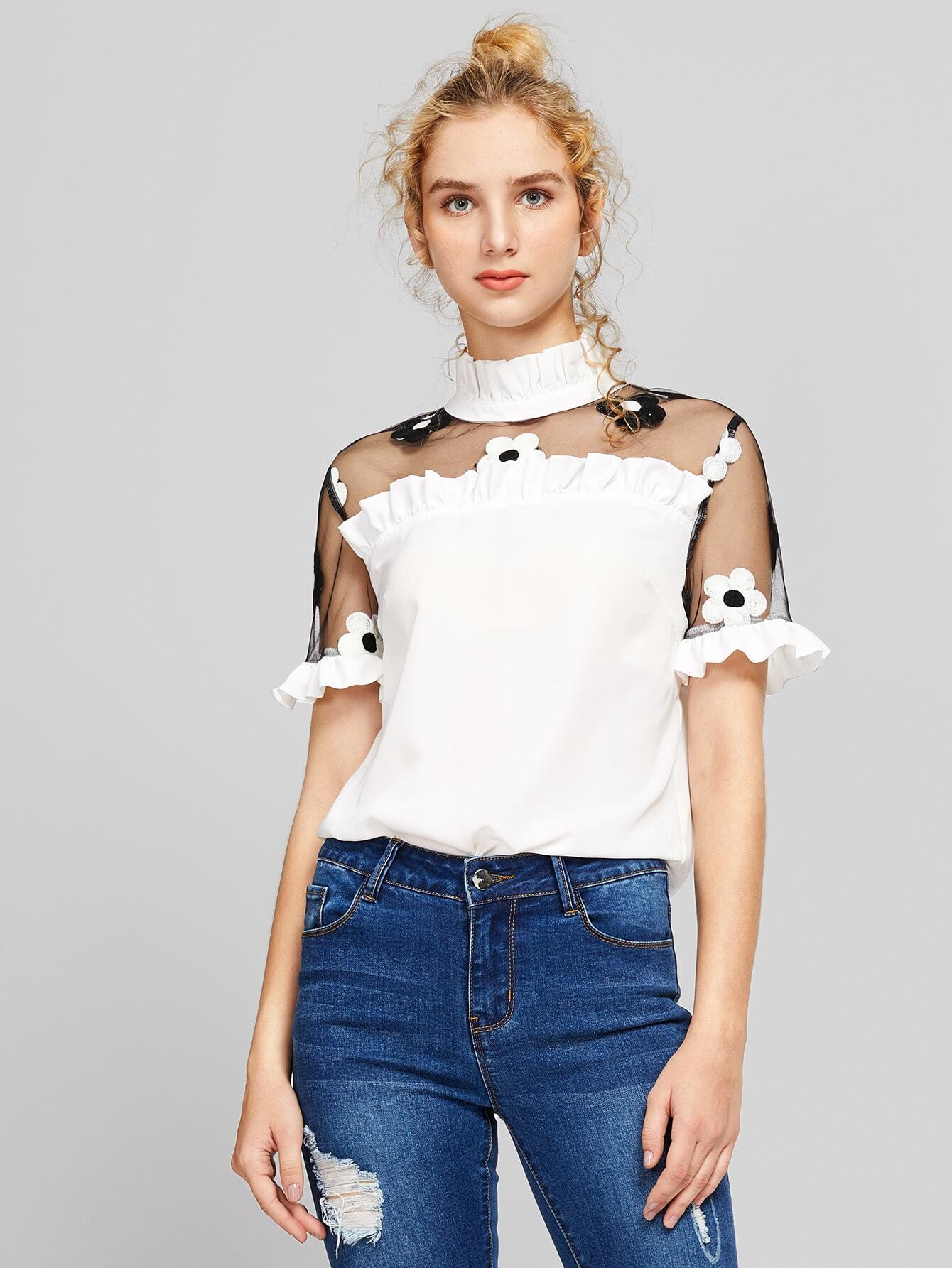 Contrast Embroidered Mesh Shoulder Frilled Top все цены