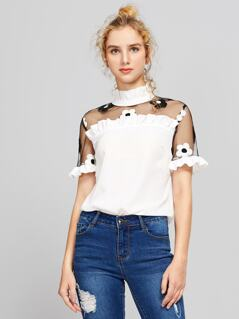 Contrast Embroidered Mesh Shoulder Frilled Top