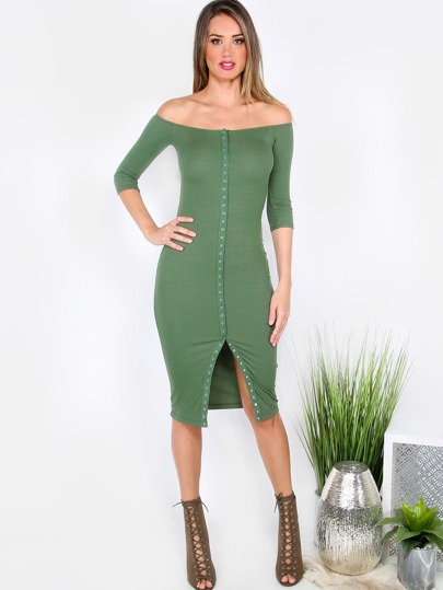 Button Slit Front Bardot Pencil Dress