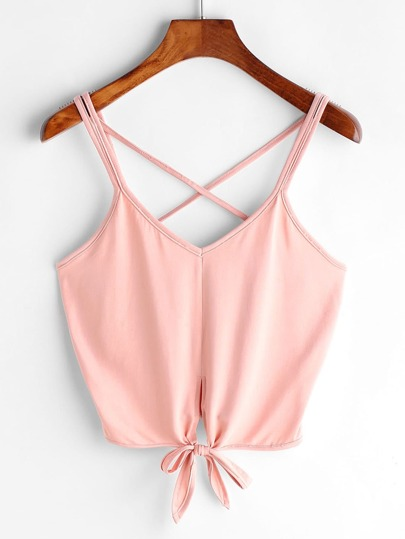 Criss Cross Back Knotted Hem Crop Cami Top