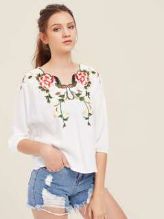 Flower Embroidery High Low Top