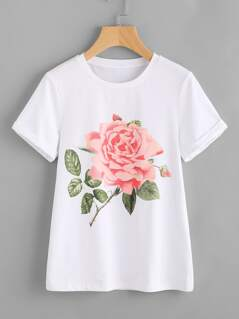 Rose Print Cuffed T-shirt