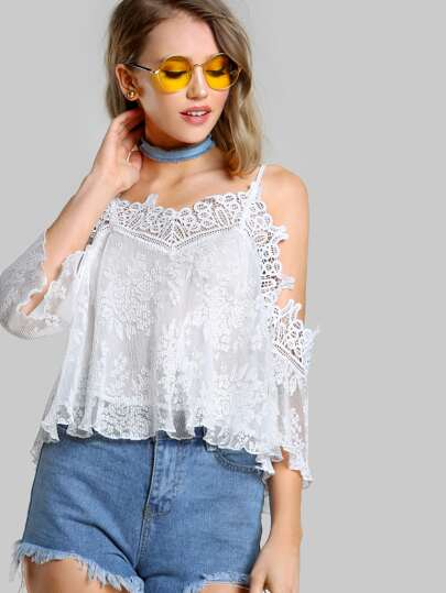 Lace Trim Cold Shoulder Top WHITE