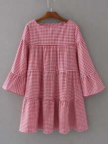 Bell Sleeve Plaid Shift Dress