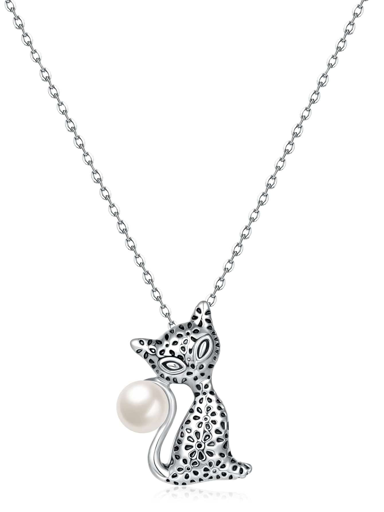 Фото Cat Design Pendant Chain Necklace With Faux Pearl. Купить с доставкой
