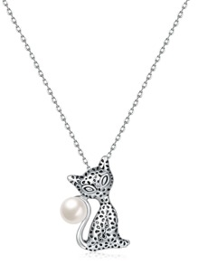 Cat Design Pendant Chain Necklace With Faux Pearl
