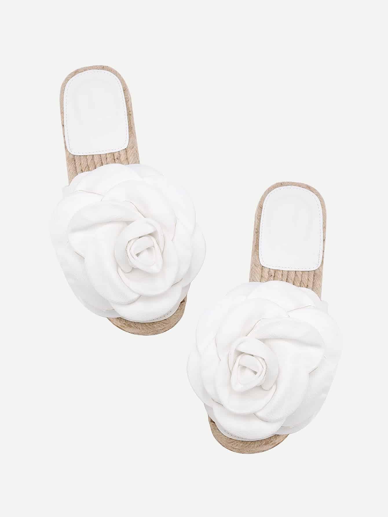 Фото Flower Embellished PU Flat Sandals. Купить с доставкой