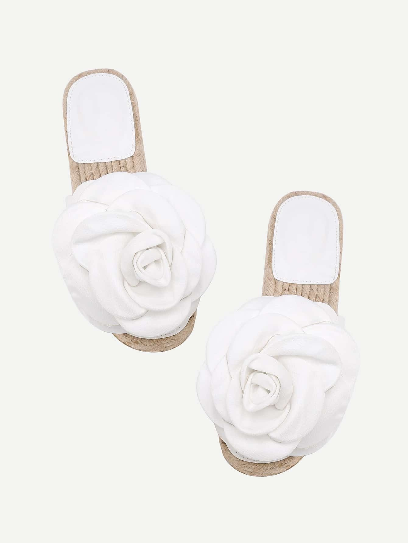 Flower Embellished PU Flat Sandals