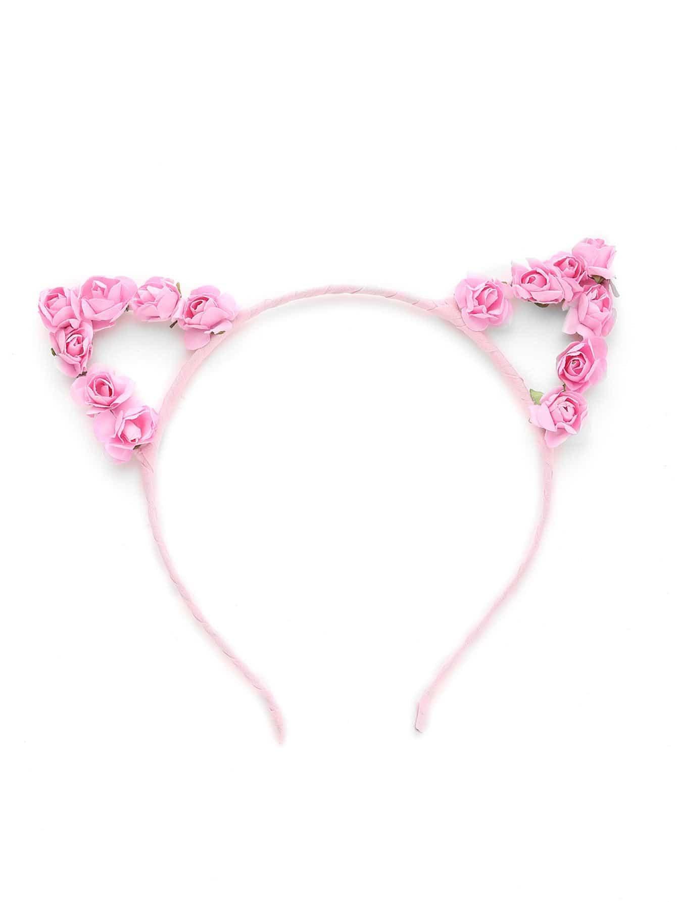 Купить со скидкой Flower Embellished Cat Ear Headband