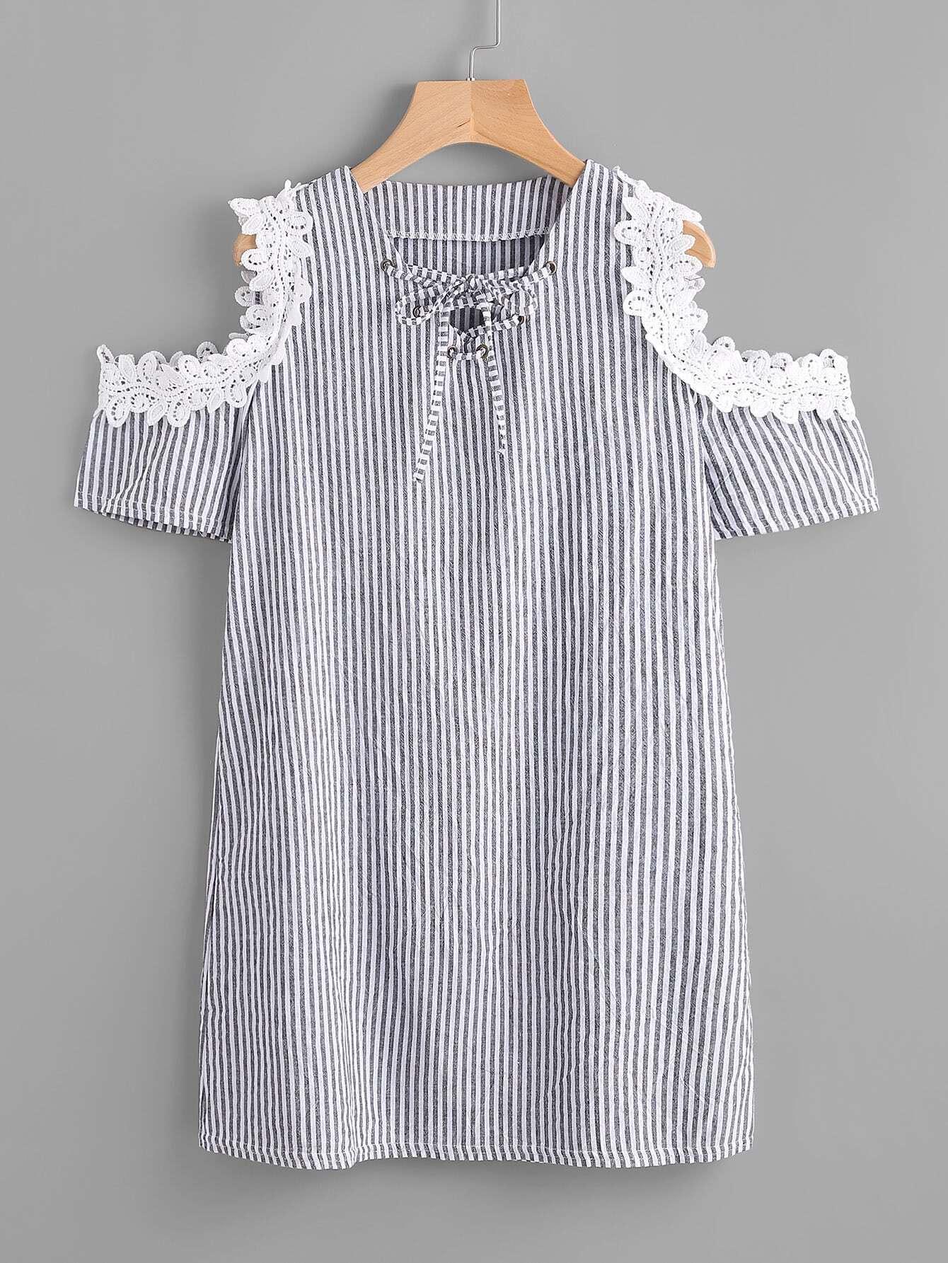 Фото Contrast Lace Open Shoulder Vertical Striped Dress. Купить с доставкой