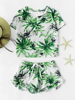Tropical Print Crop Tee And Ruffle Drawstring Shorts Set